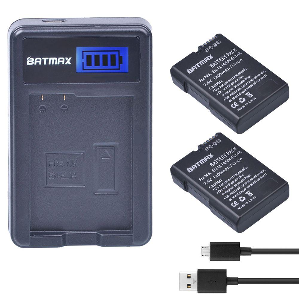 2x Bateria EN-EL14 EN-EL14a ENEL14 EN EL14 EL14a Battery +LCD USB Charger for Nikon D3100 D3200 D3300 D5100 D5200 D5300 P7000