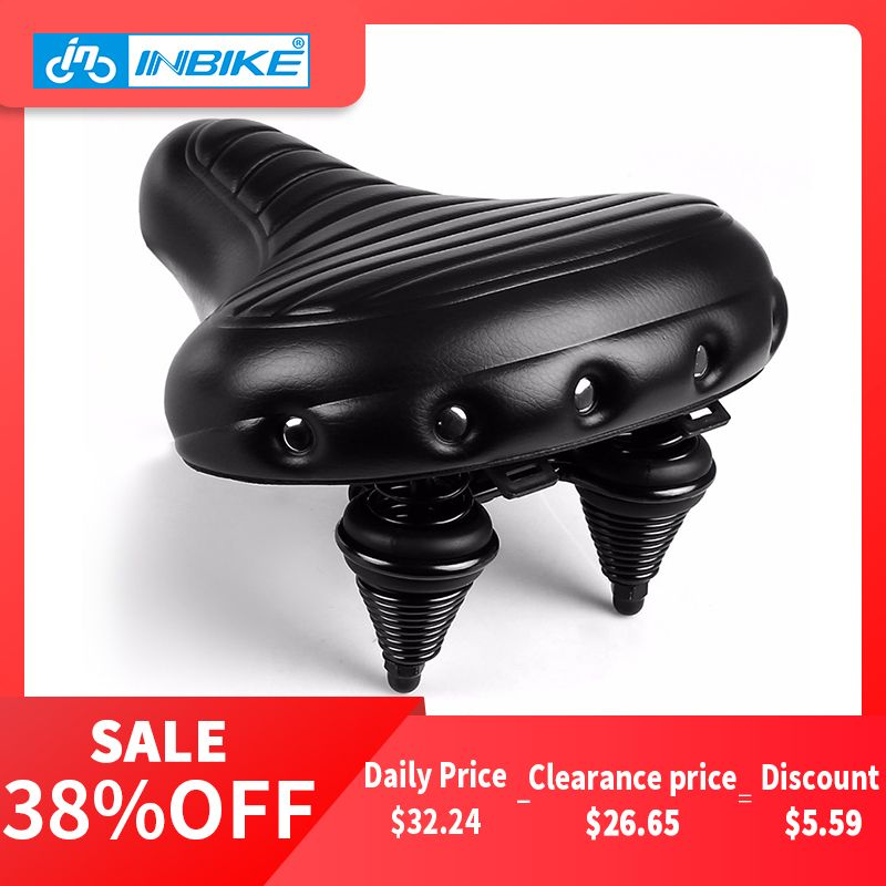 INBIKE Soft Wide Bicycle Saddle Comfortable Bike Seat Vintage Bicycle Leather Saddle Pad Waterproof Cycling Parts Accessories