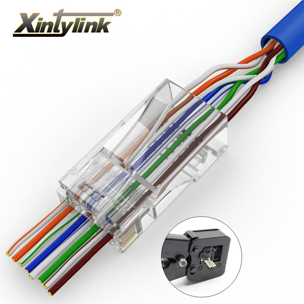 xintylink EZ rj45 connector cat6 rj 45 ethernet cable plug cat5e utp 8P8C cat 6 network 8pin unshielded modular cat5 terminal
