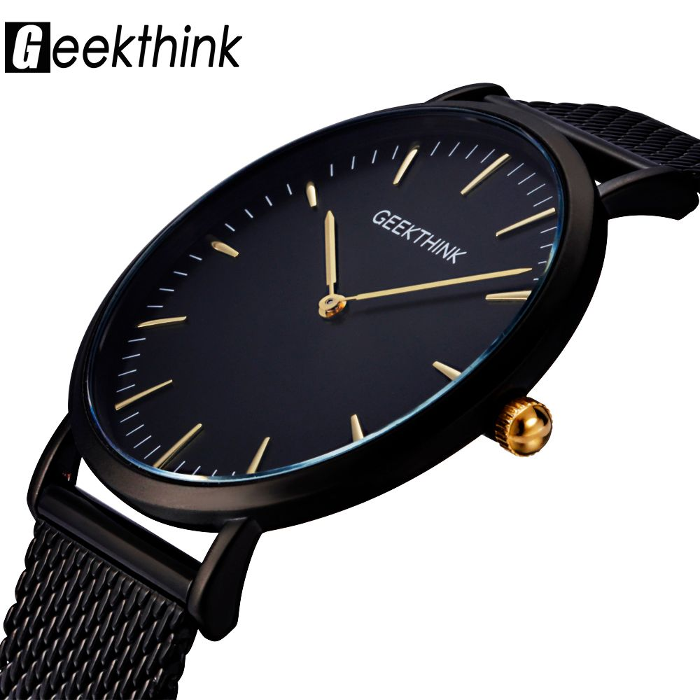 GEEKTHINK Top <font><b>Luxury</b></font> Brand Quartz watch men Black Casual Japan Movt stainless steel Mesh strap ultra thin clock male