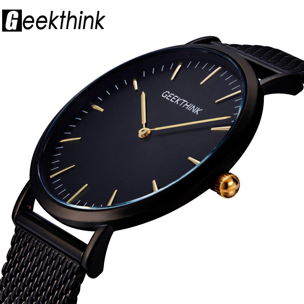 GEEKTHINK Top Luxury Brand Quartz watch men Black Casual Japan Movt stainless steel Mesh strap ultra thin clock male