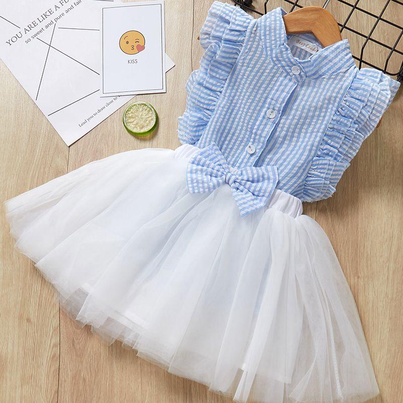 Enfants robe d'été 2019 Style décontracté filles o-cou vêtements ensemble blanc dentelle t-shirt + jupe filles sans manches costumes enfants vêtements