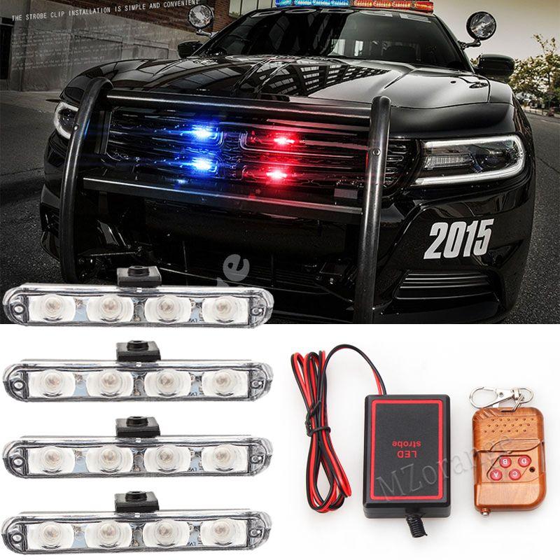 4x4/led led DRL Ambulance lumière de police 12 V lampe témoin stroboscopique 4 dans 1 Sans Fil À Distance De Voiture lumière de camion Clignotant pompiers Lumières