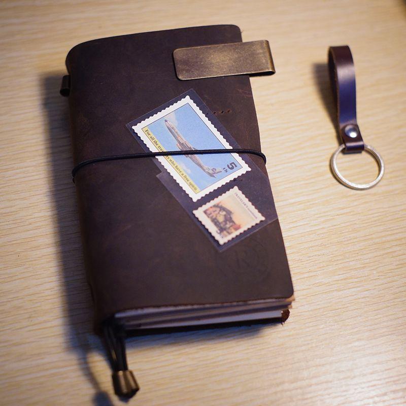 Journal de voyage vintage en cuir véritable couverture cahier impression monogramme fournitures scolaires remplissage cuir relié journal carnet