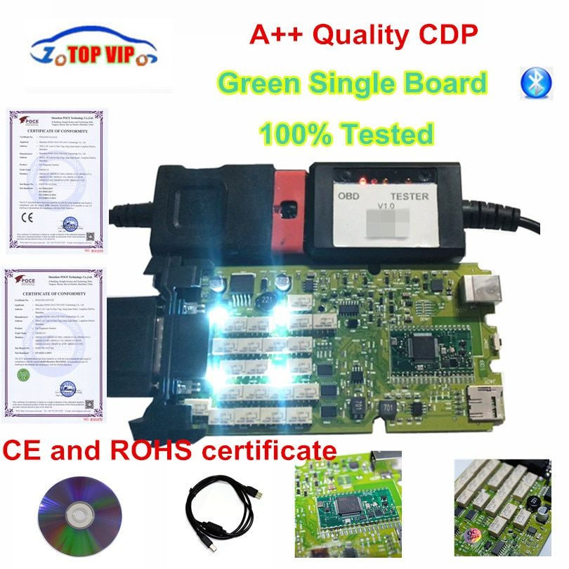 A++ Quality Green Single Board CDP PRO Low Price TCS CDP bluetooth 2015 r3 with keygen Software New VCI TCS CDP Pro Scanner