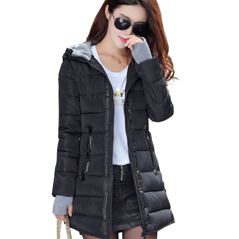 2017 women winter hooded warm coat slim plus size candy color cotton padded basic jacket female medium-long  jaqueta feminina