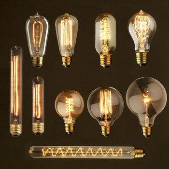 Edison Ampoule lampada Rétro lampe 220 V E27 ampoule À Incandescence cru lampe edison Ampoule Pour décor filament ampoule ST64 T10 40 W