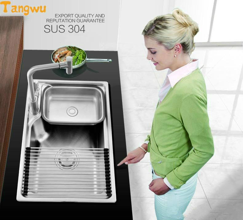 Free shipping 304 stainless steel wire drawing process with a quick drain and drain kitchen sink