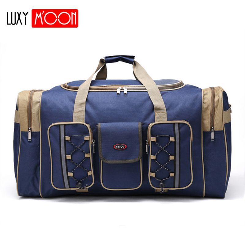 Sac de voyage décontracté en toile épaisse imperméable à l'eau pour hommes sacs de voyage longue sangle anti-rayures multi-poches grande capacité sacs à main L468