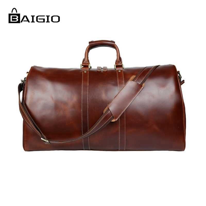Baigio Men Travel Bag Leather Bag Vintage Brown Designer Travel Overnight Tote Large Capacity Luggage Bag Shoulder Travel Bag