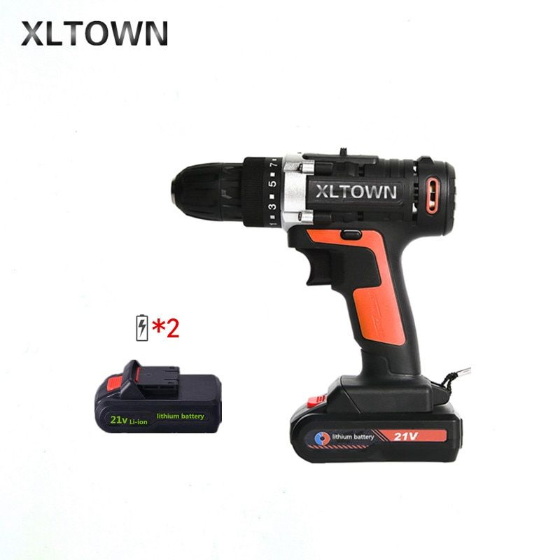 XLTOWN 21v multi-function cordless electric screwdriver with 2 battery high-power rechargeable lithium battery drill power tools