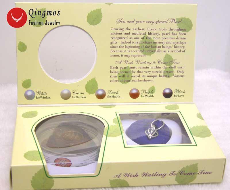 Qingmos 1 boîtes souhait perle amour coeur Cage titulaire Chokers collier pour les femmes avec pendentifs collier de perles huître boîte-cadeau-3621
