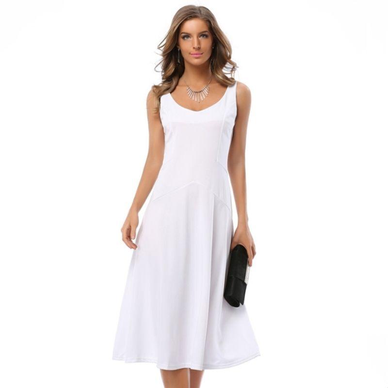 Sexy élégant Flare robe Vintage 2019 nouvelle robe d'été femmes bref solide sans manches col en v taille haute robes de soirée robe de bureau