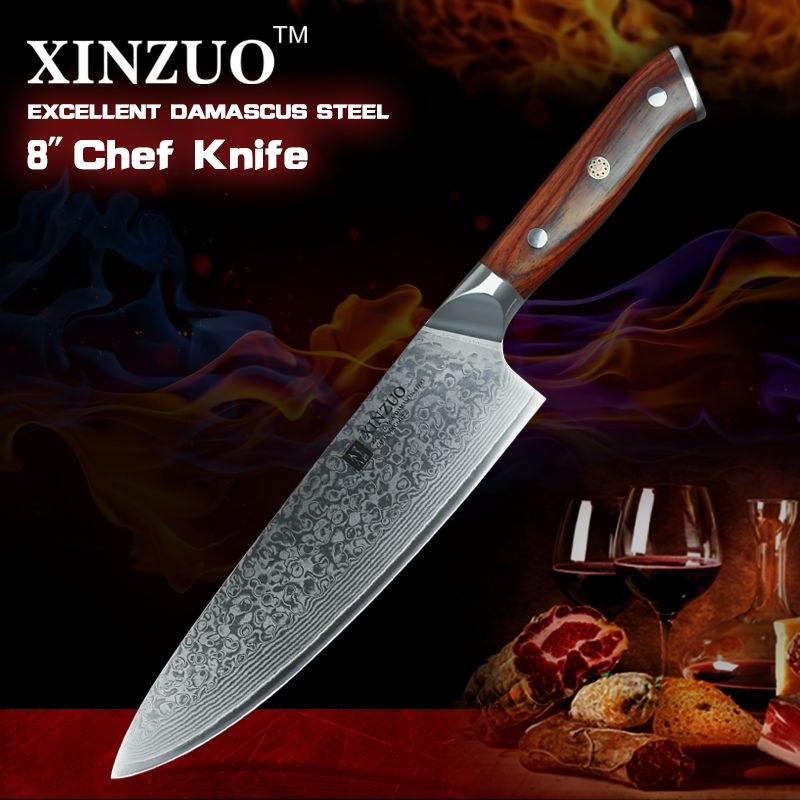 XINZUO 8 inch Chef Knives High Carbon VG10 <font><b>Japanese</b></font> 73 layer Damascus Kitchen Knife Stainless Steel Gyuto Knife Rose Wood Handle
