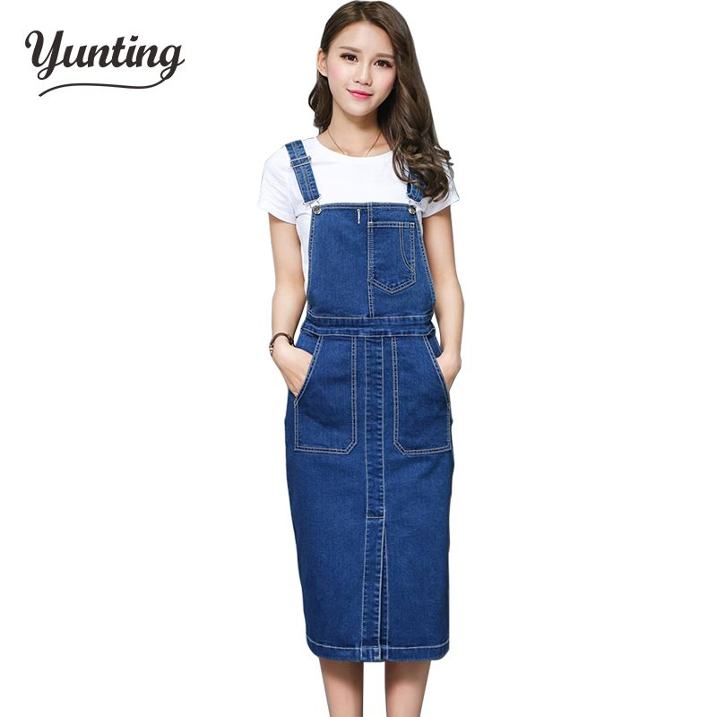 Vintage 2018 Slim Sweet Jeans Dress Women Washed Short Suspender Denim Sundress Denim Overall Dress Free Shipping