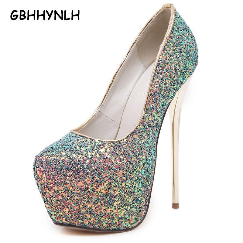 Rose sexy pompes parti chaussures pour femmes 16 cm extrême haute talons chaussures plate-forme de paillette talons blanc pompes bleu noir talons LJA31