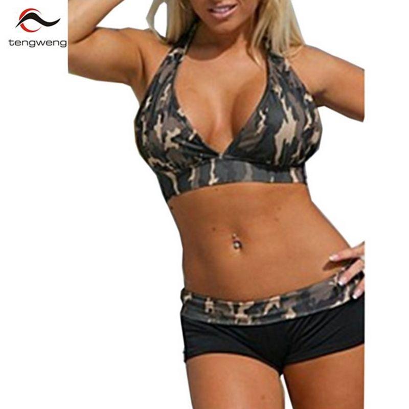 2017 Women Sexy Halter Army <font><b>Green</b></font> Camouflage Boxer Shorts Sport Bikini Set Biquini Swimsuit Swimwear Brazilian PlusSize BathSuit