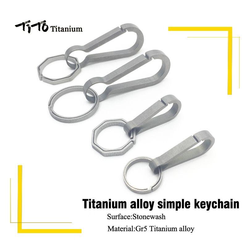 TiTo EDC titane porte-clés Multi titane mousqueton extérieur camping titane porte-clés voiture titane boucle