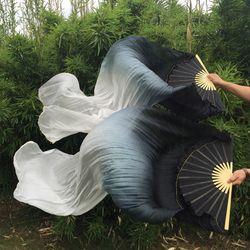 2019 frauen 100% Seide Bauchtanz Fan Schleier 1,8 M Lange Bauchtanz Fan Schleier Oriental Fan Dance 2 Stück (links + Rechts Hand)