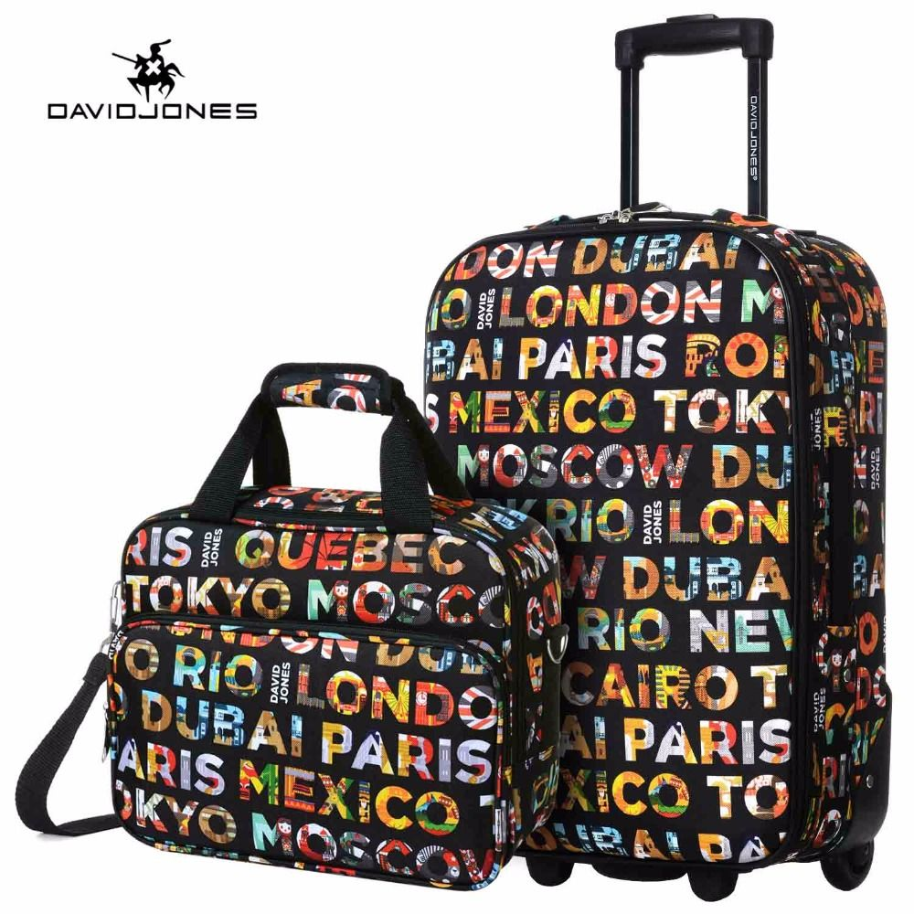 DAVIDJONES 20 inches Carry-on suitcase & make-up bag luggage Set fixed wheels trolley