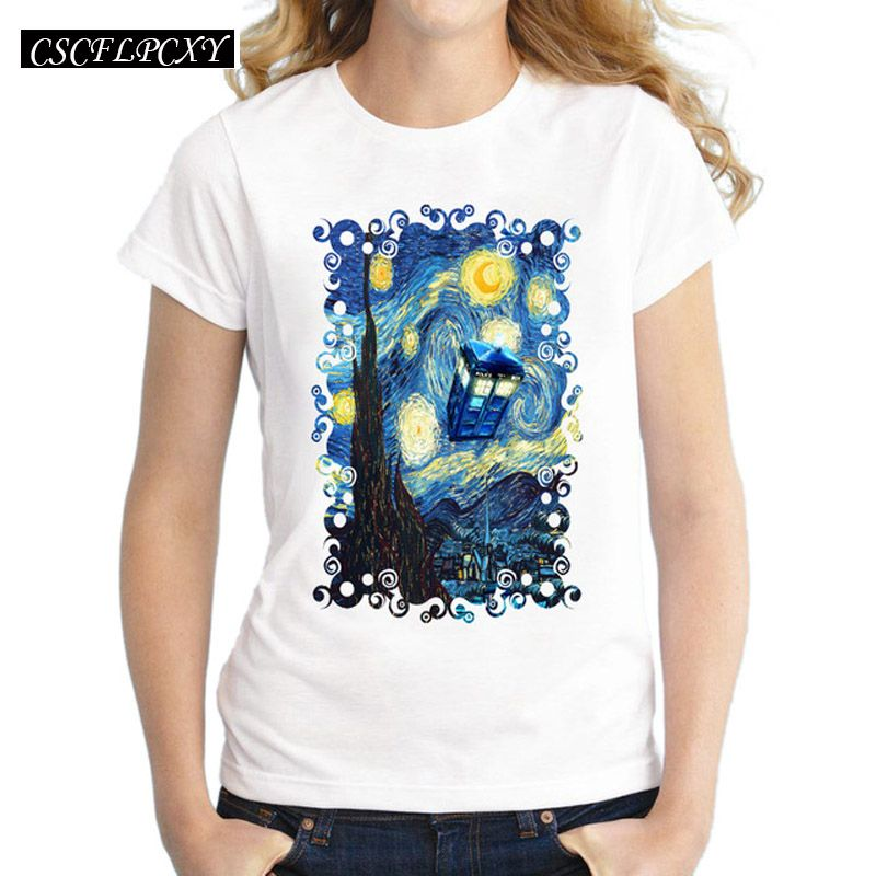 2017 Women Doctor Who T-Shirt Short Sleeve Casual Tops Novelty Blue Phone Booth Starry The Night Printed T Shirts Fashion Tee