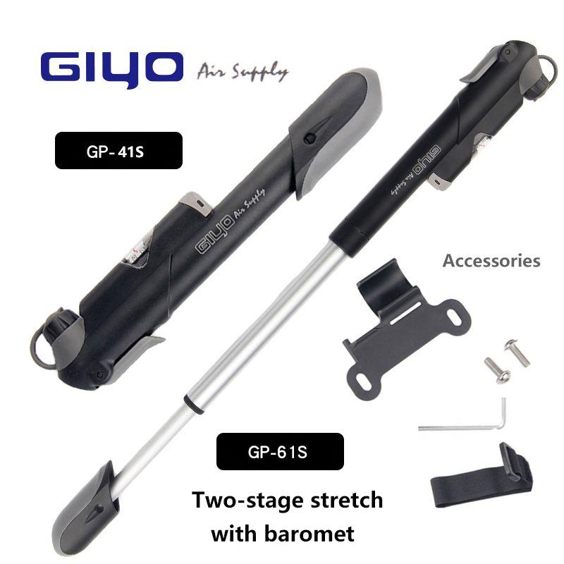 Bike Pump GIYO GP-41S/61S Made in Taiwan Pressure Gauge Mountain Mini Bicycle Air Pump Cycling Accessories (A/V) (F/V)