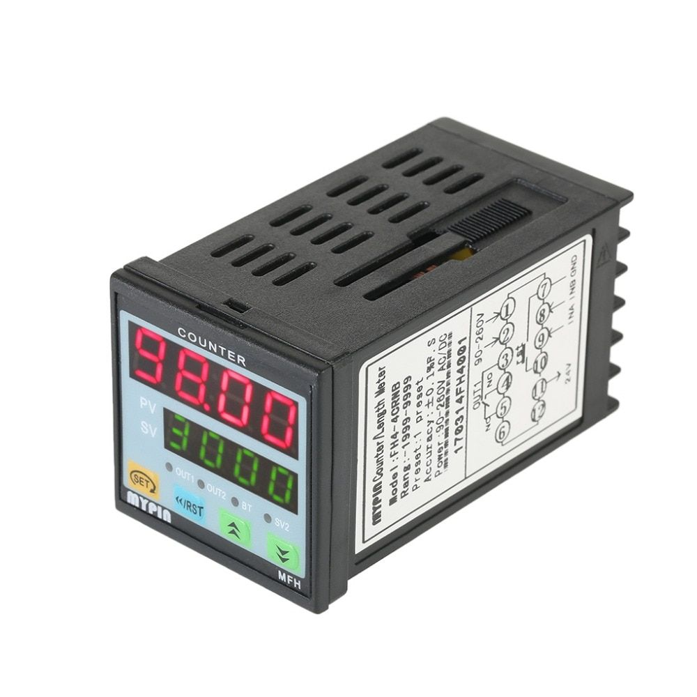 Multi-purpose Preset 4 Digital Counter Intelligent 90-265V AC/DC Length Counter Length Meter Machine Relay Output PNP NPN