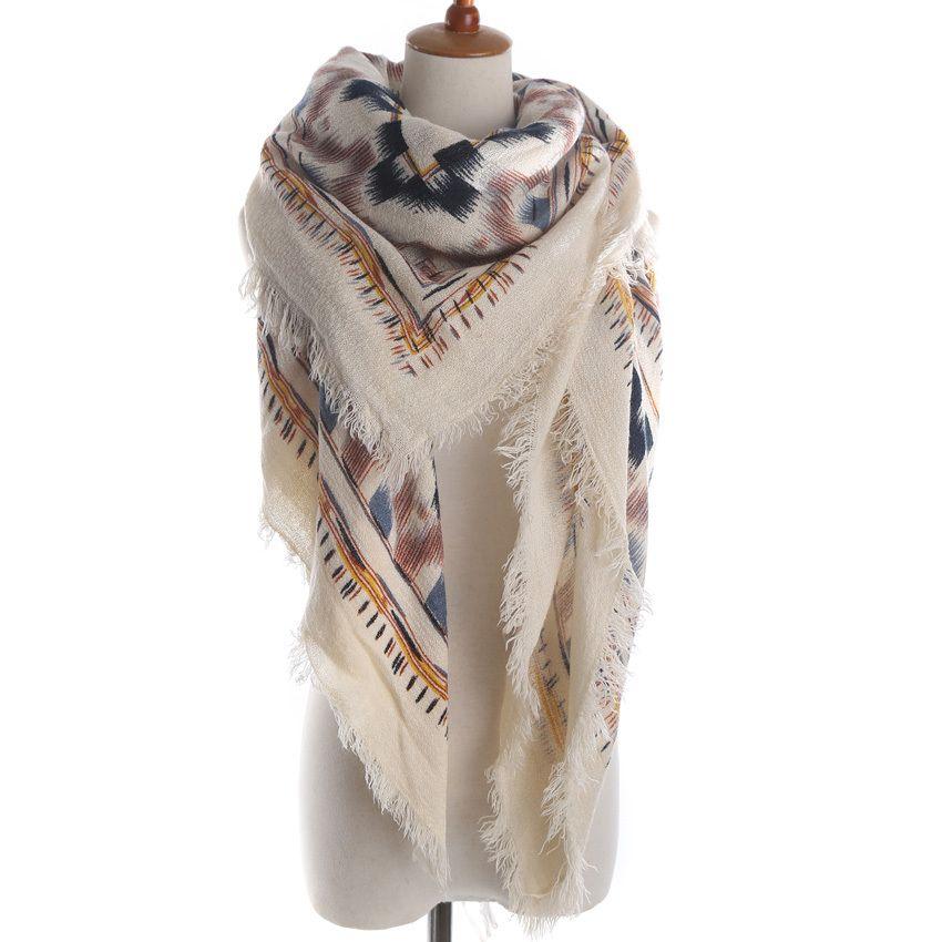 Брендовая женская мода геометрическим принтом квадратный шарф теплый зимний кашемировый бахромой Одеяла шарф платок дамы Шарфы