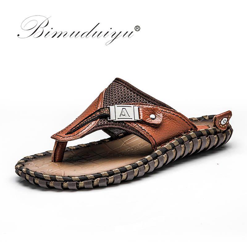 BIMUDUIYU Brand New Arrival Slippers High Quality Handmade Cow Genuine Leather Summer Shoes Fashion Men Beach Sandals Flip Flops
