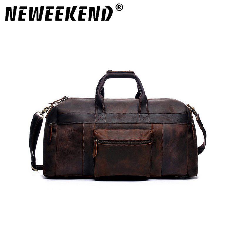 NEWEEKEND Vintage Echtes Leder Crazy Horse Multi-Tasche 13 zoll Handtasche Crossbody Reise Gepäck Laptop Tasche für Mann YD-8030
