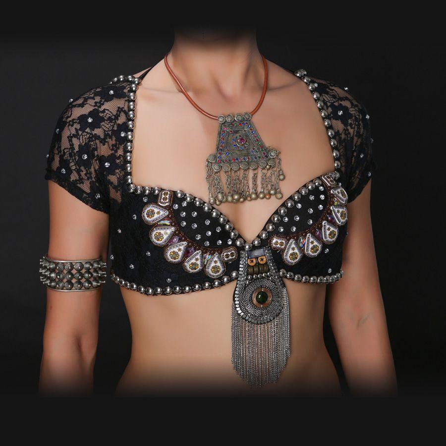 Nuevo 2018 ATS tribal danza del vientre sujetador Tops metallic studs push up beadsbra B/C taza de la vendimia monedas top gitana danza Encaje