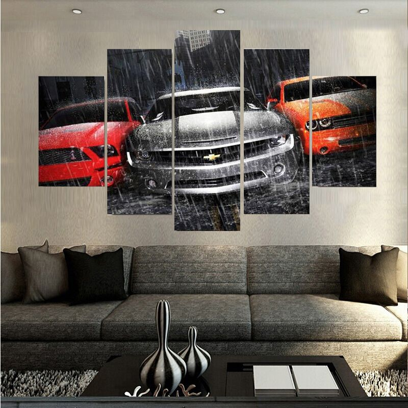 Canvas Printings Rain Racing Painting Wall Art Home Decoration Poster Canvas Unframed Free shipping