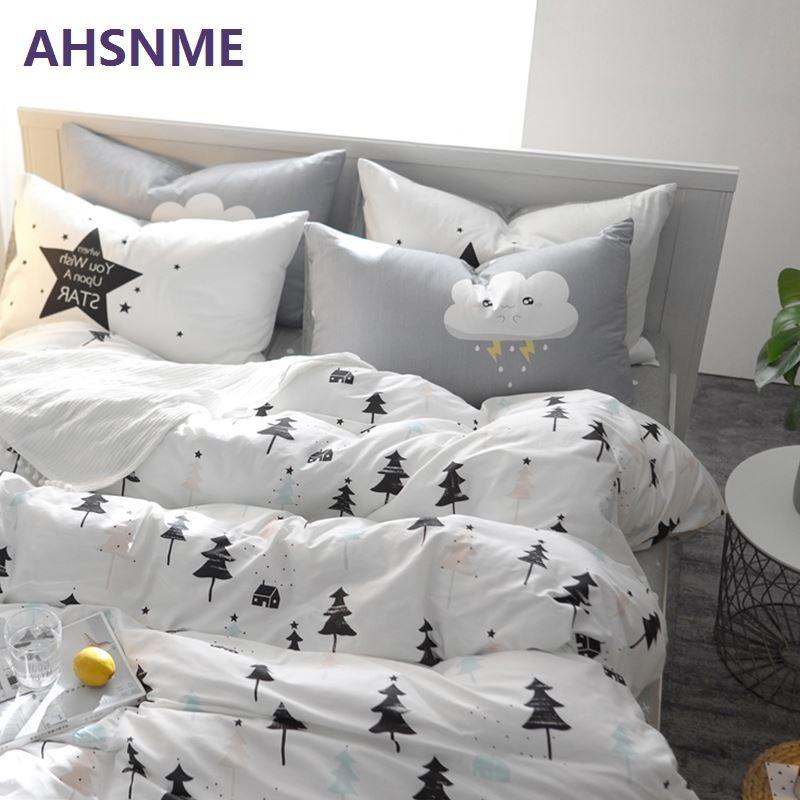 AHSNME 100% Cotton Bedlinen Nordic bedclothes multi size bedcover pine cactus duvet cover pillowcase bedding set Bed Set