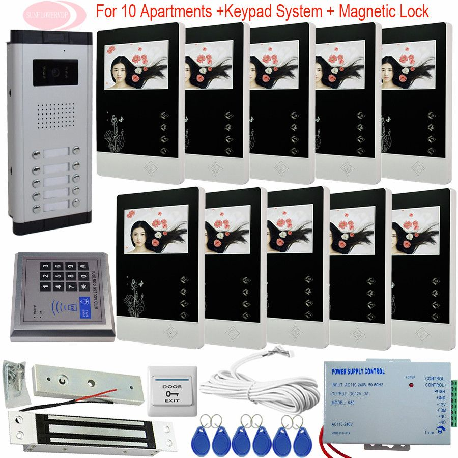 New Home Apartment Intercom System 10 Monitors Wired 4.3