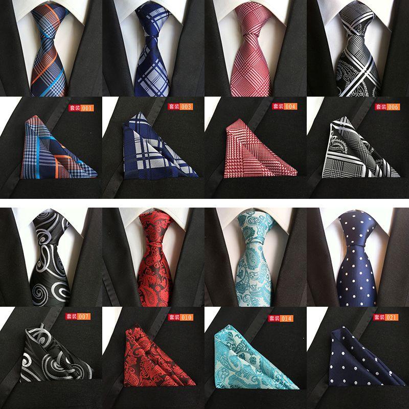 GUSLESON Mens Fashion Tie Hanky Set 8cm Silk Necktie Handerchief Business Gravata Men Ties Plaid Stripes Paisley Casual Tie