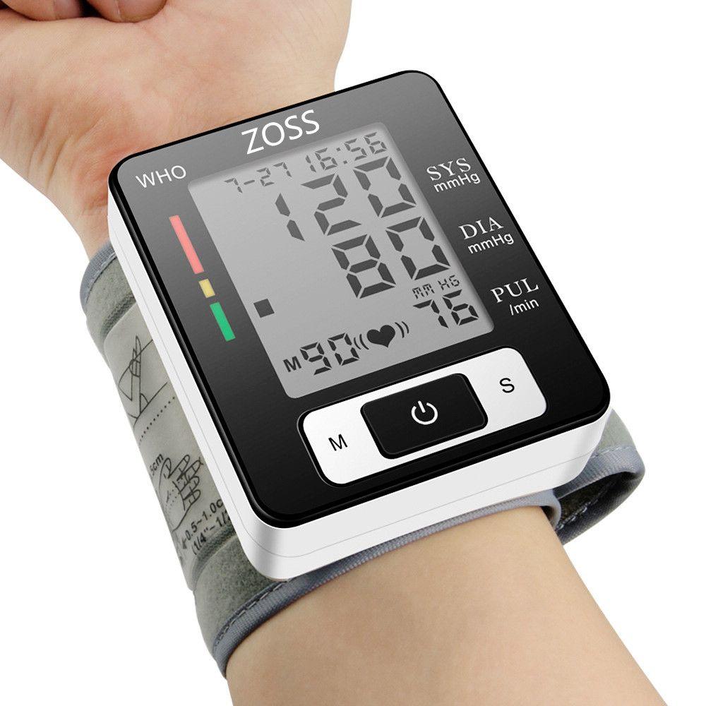 ZOSS Anglais ou Russe Voix Manchette Poignet Tensiomètre Sang Presure Mètre Moniteur de Fréquence Cardiaque Pulse Portable Tonomètre BP