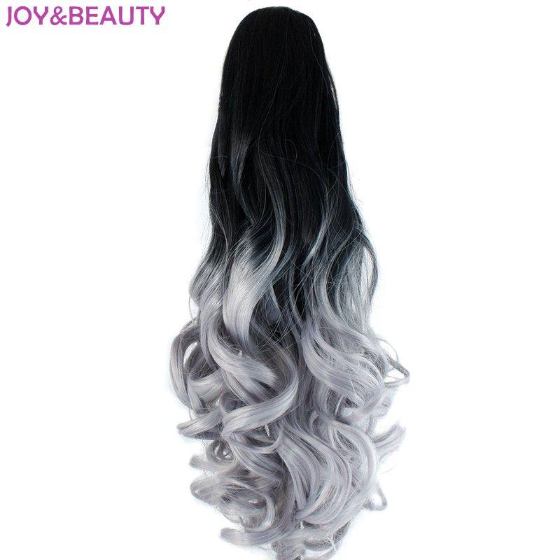 Joie & beauté cheveux noir gris Ombre cheveux synthétiques longue griffe ondulée queues de cheval 22