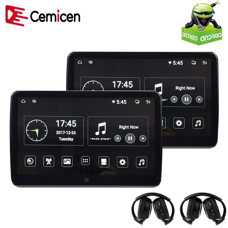 Cemicen 2PCS 10.6 Inch Android 6.0 Car Headrest Monitor 1920*1080 HD 1080P Video IPS Touch Screen 3G WIFI USB/SD/HDMI/IR/FM