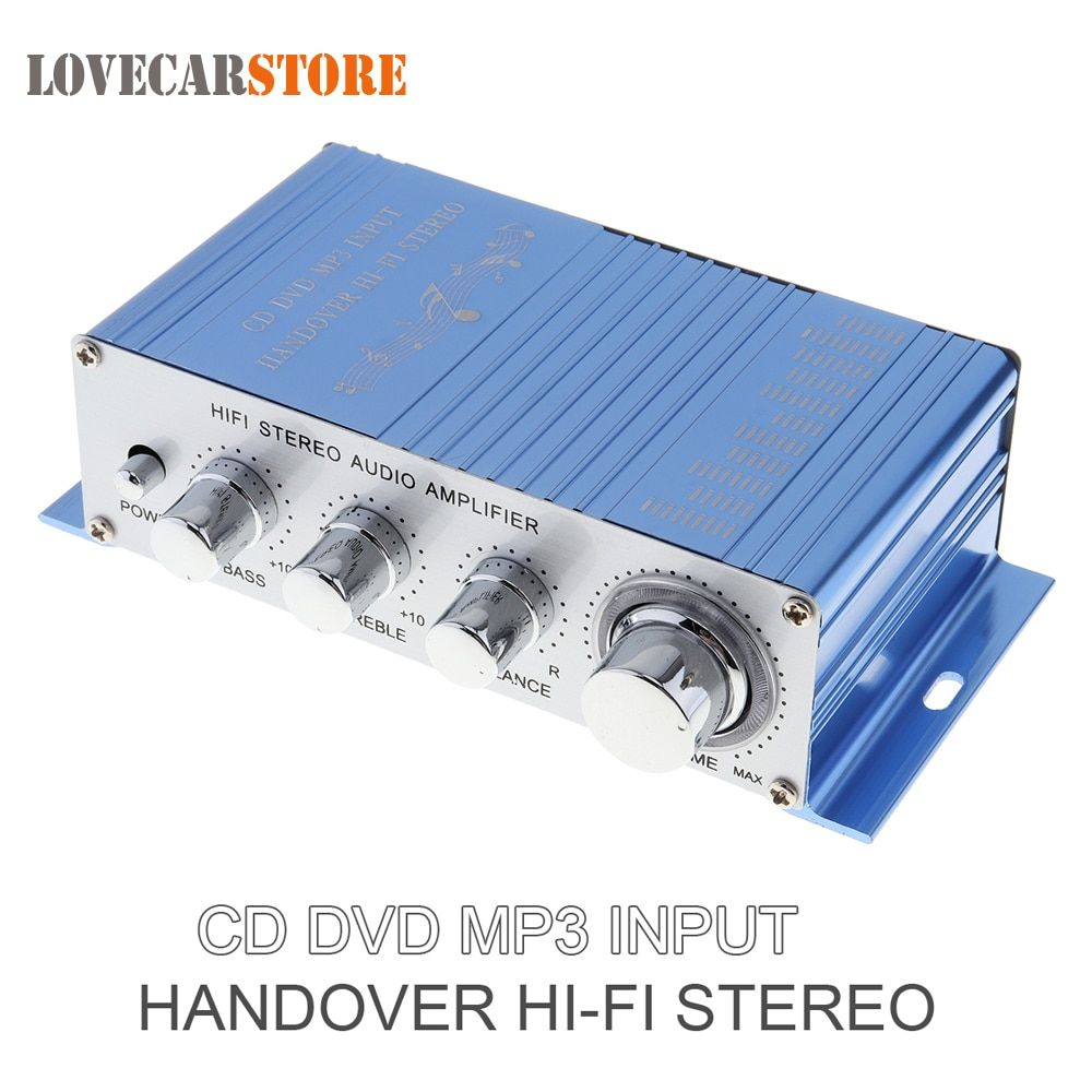Hi-Fi 12V Mini Auto Car Stereo Amplifier 2 Channel Audio Amplifier Support CD DVD MP3 Input for Motorcycle Boat Home