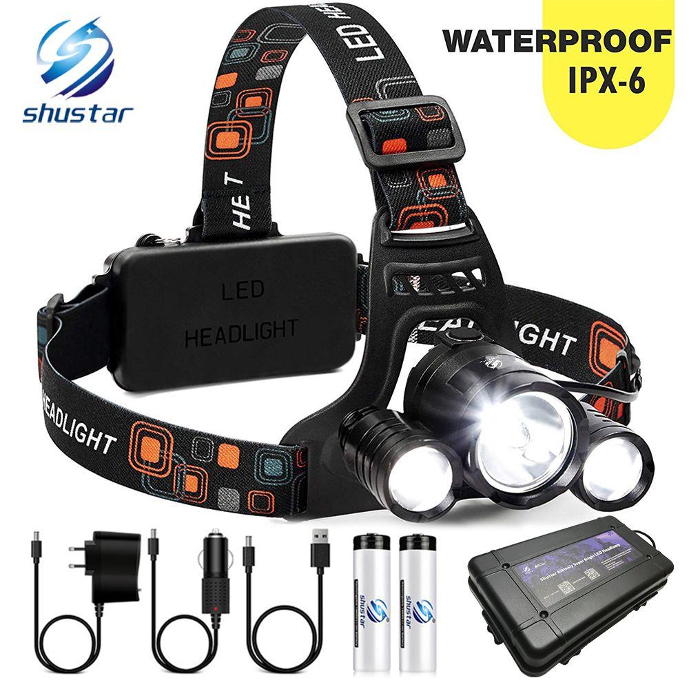 Phare de LED très brillante 3xT6 phare LED lampe de pêche étanche 4 modes d'éclairage lampe de camping utiliser 18650 batterie