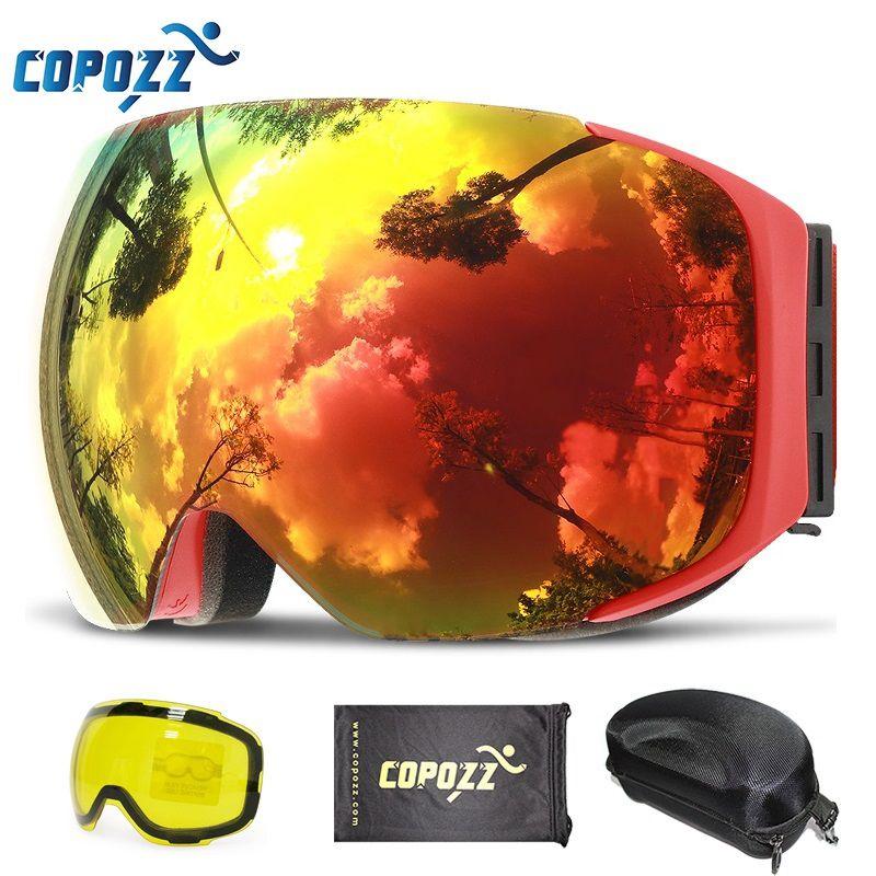 Copozz magnética gafas de esquí con cambio rápido de lente y caso set 100% UV400 protección anti-vaho gafas de Snowboard para hombres y mujeres