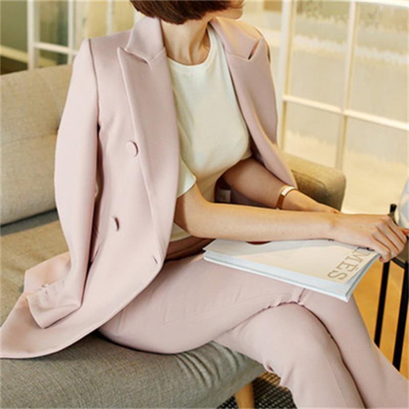 Women's clothing fashion casual suits sets / Female business coat solid color double button suit blazers+pants trousers Set T621
