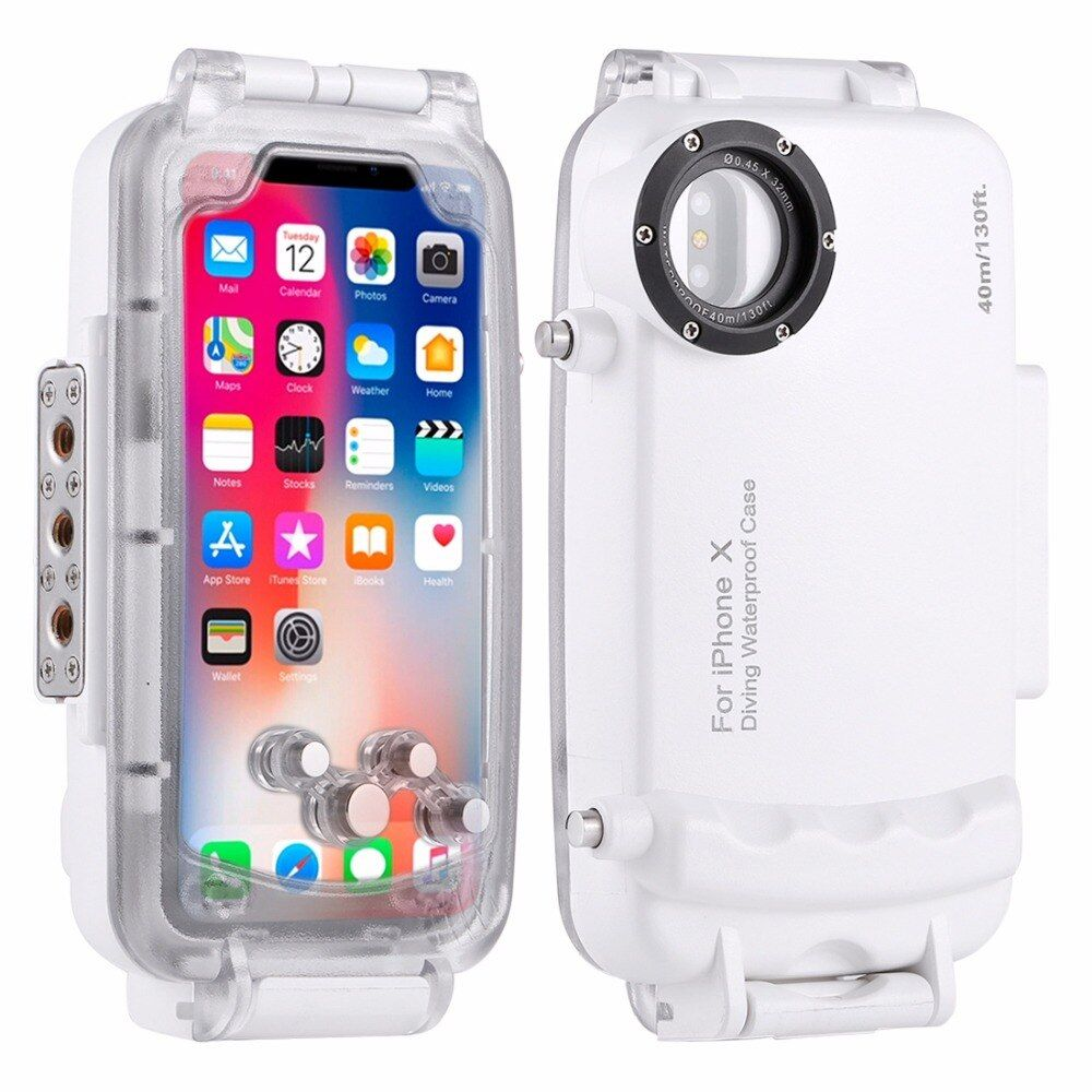 HAWEEL for iPhone X Diving Case 40m/130ft Waterproof Diving Housing Photo Video Taking Underwater Housing Cover Case Shockproof