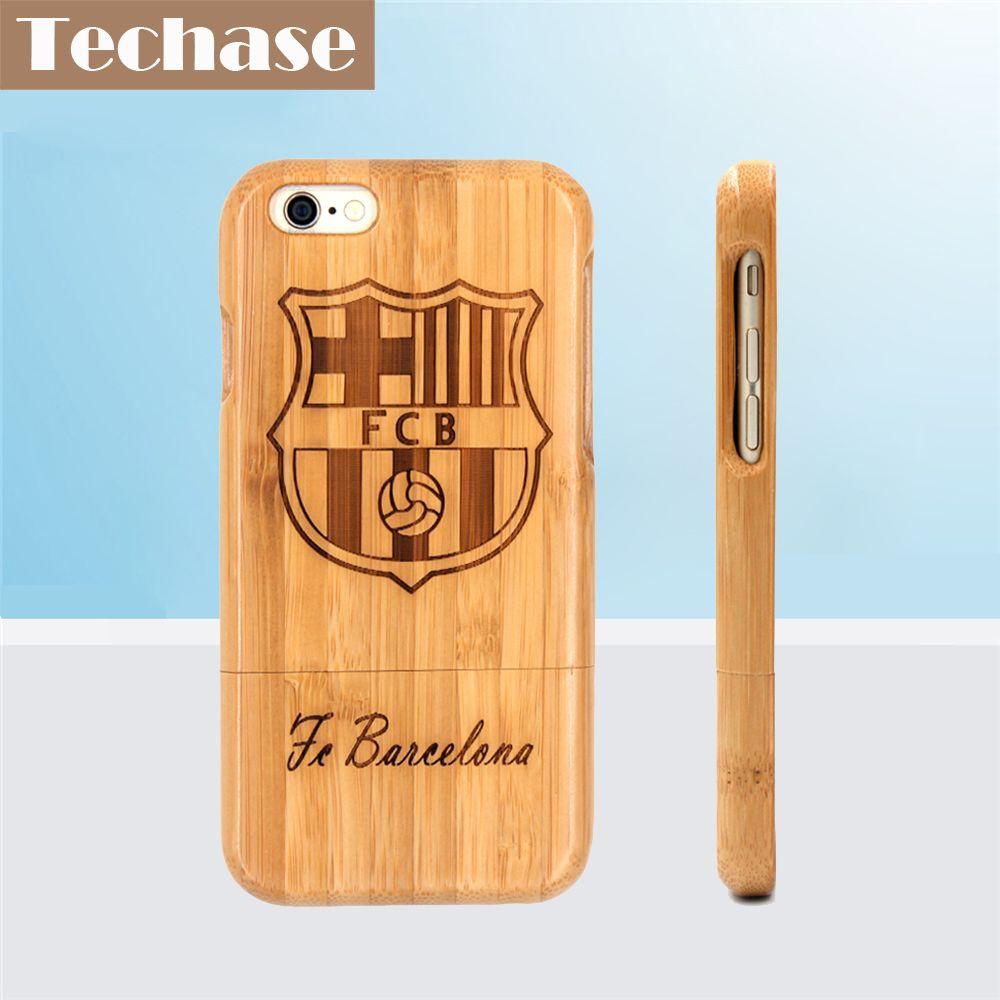 Techase Bamboo Телефонные Чехлы для Bacelona Футбол клуб для iPhone 6 Чехол Полный Деревянный Дизайн защитная задняя Чехлы для мангала для IPhone X