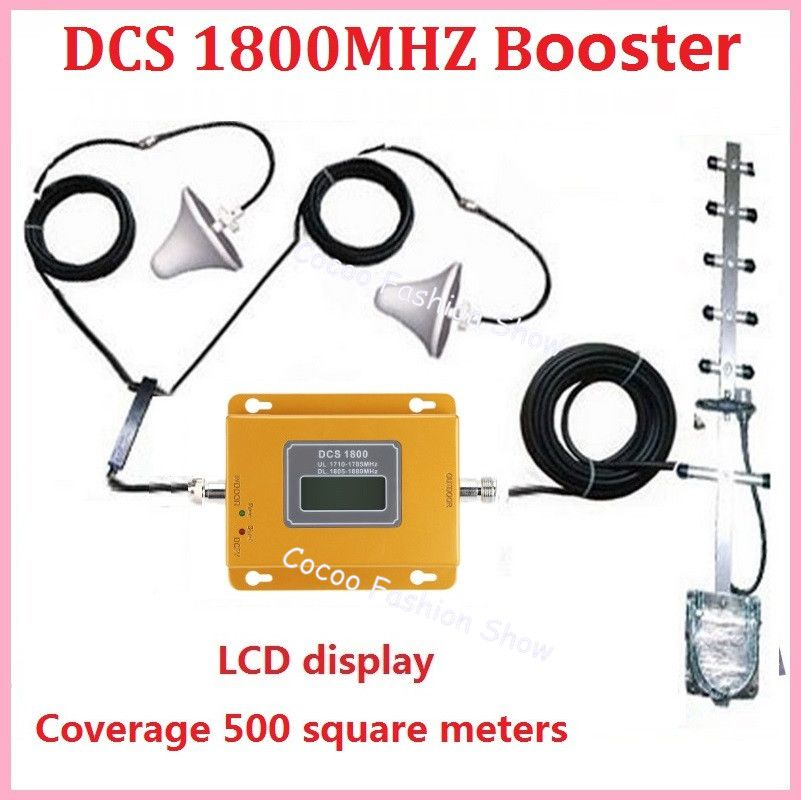 LCD display ! Mini 4G LTE DCS 1800Mhz booster, DCS cellular signal amplifier booster mobile phone signal repeater kits + antenna