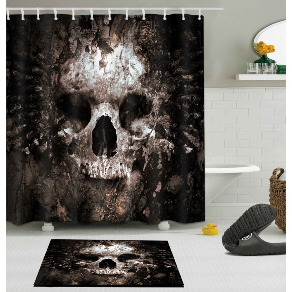 Scary Rusty Rotten Skull Halloween Shower Curtain and Bath Mat Set Waterproof Polyester Bathroom Fabric for Bathtub Art Decor
