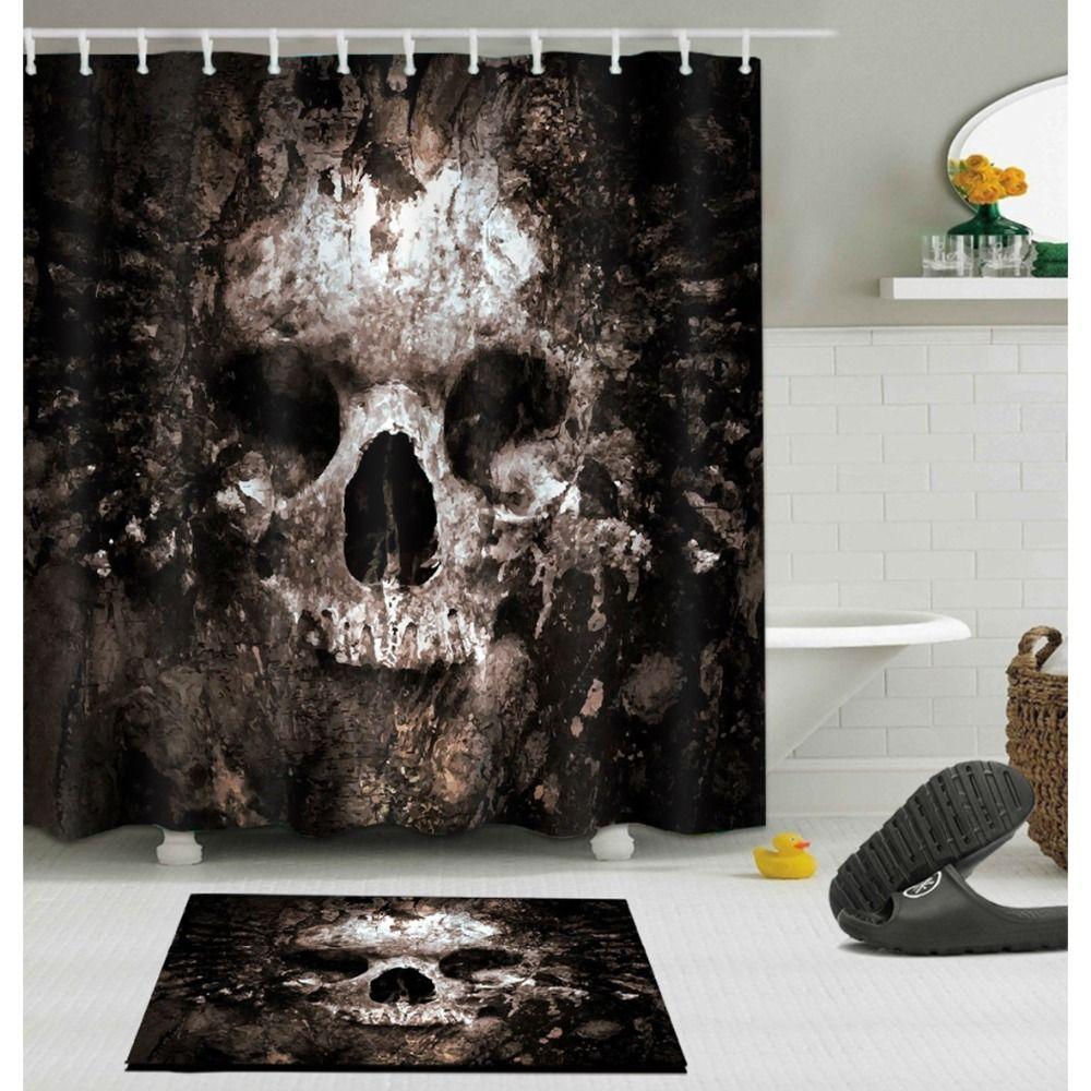 Scary Rusty Rotten Skull Halloween Shower Curtain and Bath Mat Set Waterproof Polyester Bathroom Fabric for Bathtub Art Decor