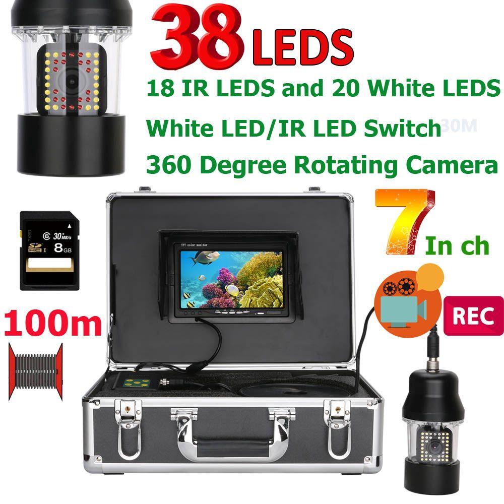 7 Inch DVR Recorder 20M 50M 100M Underwater Fishing Video Camera Fish Finder IP68 Waterproof 38 LEDs 360 Degree Rotating Camera