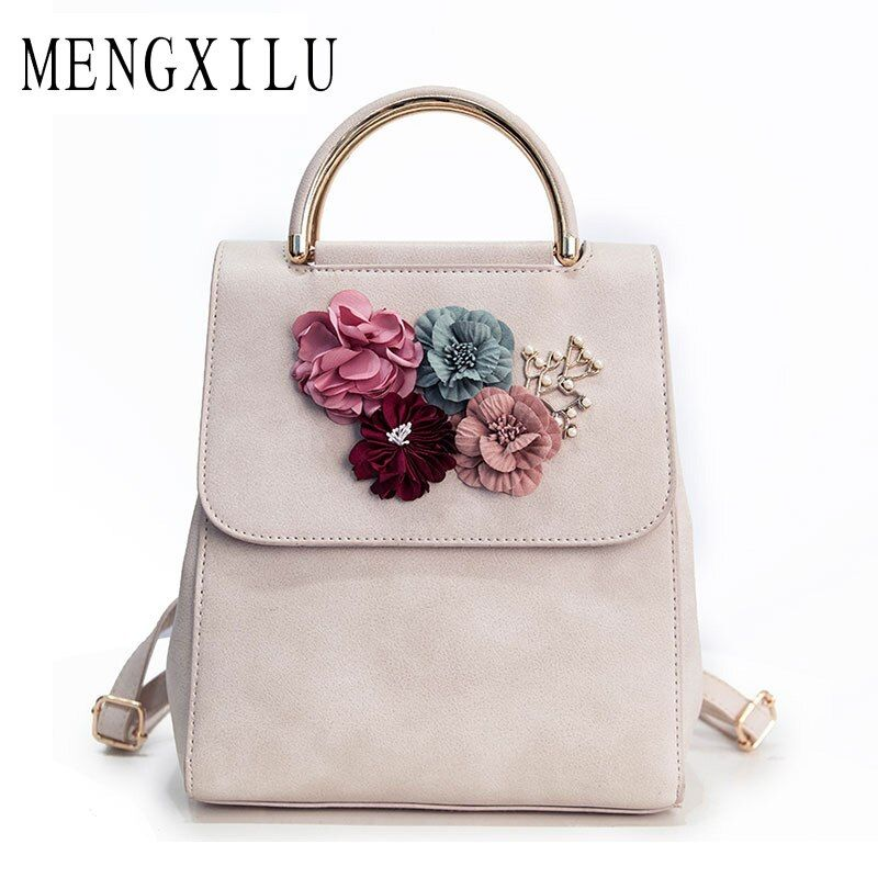 MENGXILU Brand Leather Women Backpack Female Japan and Korean Style Trend Three-dimensional Flower Shoulder Bag Women's Backpack