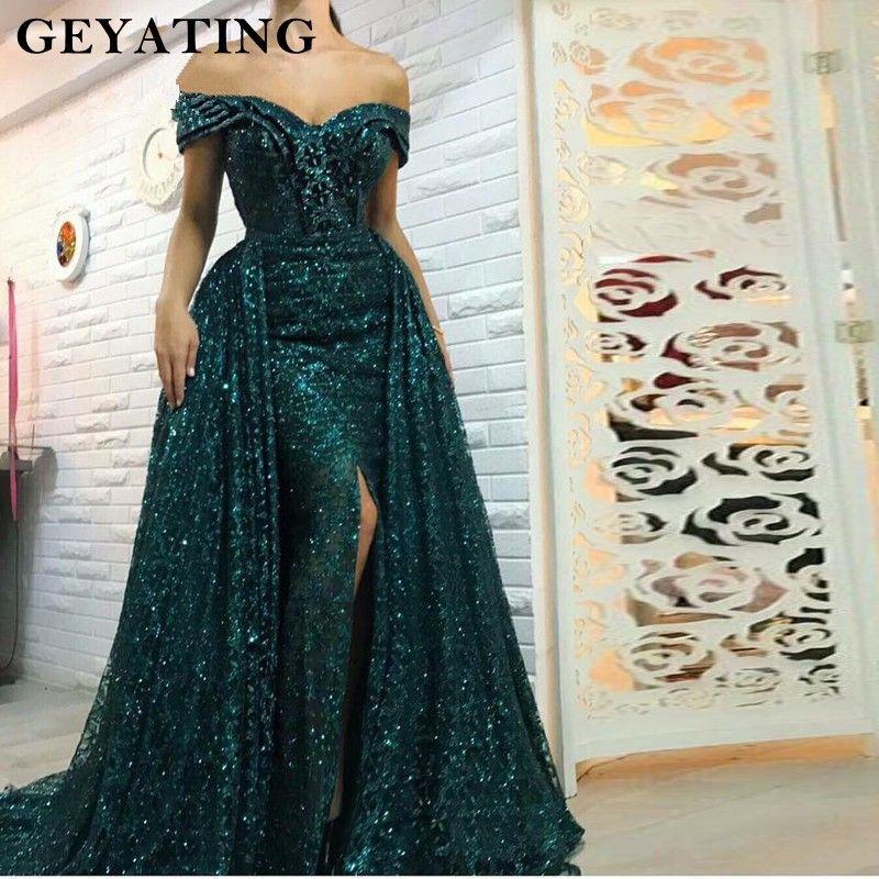 Saudi Arabisch Dunkelgrün Meerjungfrau Abendkleid Lange Abnehmbare Zug Prom Kleider 2019 Dubai Türkische Off Schulter Abendkleider